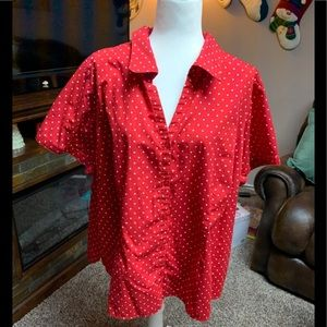Basic Editions red and white polka dot blouse 3X